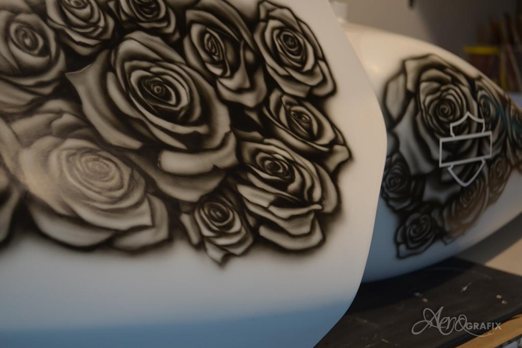 malowanie aerografem róże